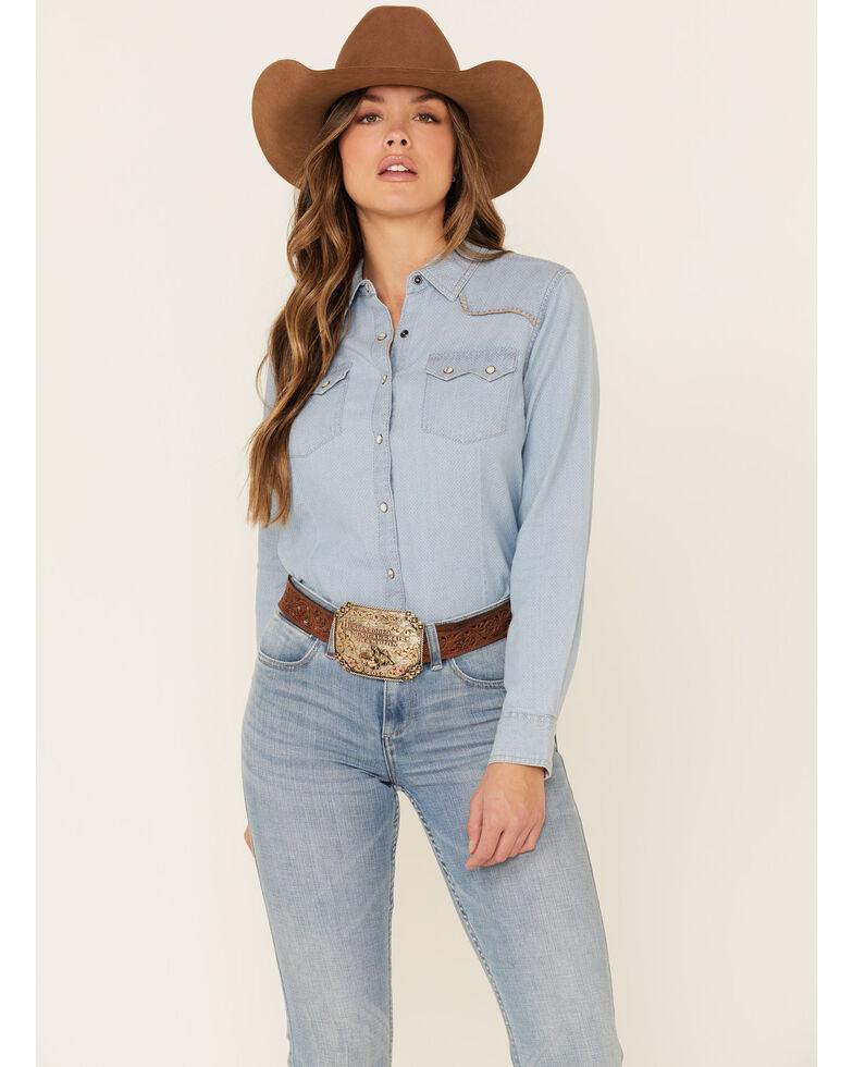 Ariat Women's R.E.A.L Kind Diamond Chambray Print Long Sleeve Snap Western Core Shirt , Blue, hi-res