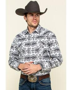 Rough Stock By Panhandle Men's Natrona Aztec Print Long Sleeve Western Shirt , Light Grey, hi-res