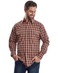 Wrangler Men's Wrinkle Resist Rust Plaid Short Sleeve Western Shirt , Medium Red, hi-res