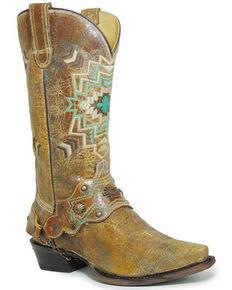 Roper Women's Vintage Brown Leather Western Boots - Snip Toe, Tan, hi-res