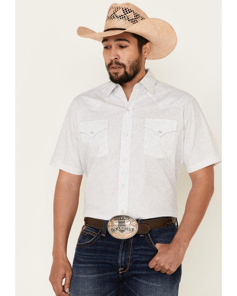 Ely Walker Men's White Paisley Print Short Sleeve Snap Western Shirt , White, hi-res