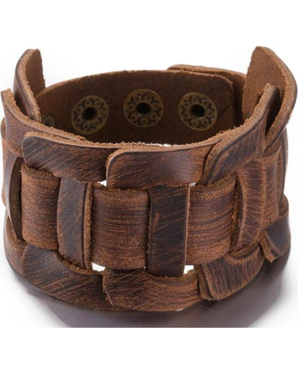 Jewelry Junkie Women's Brown Leather Braided Cuff , Brown, hi-res