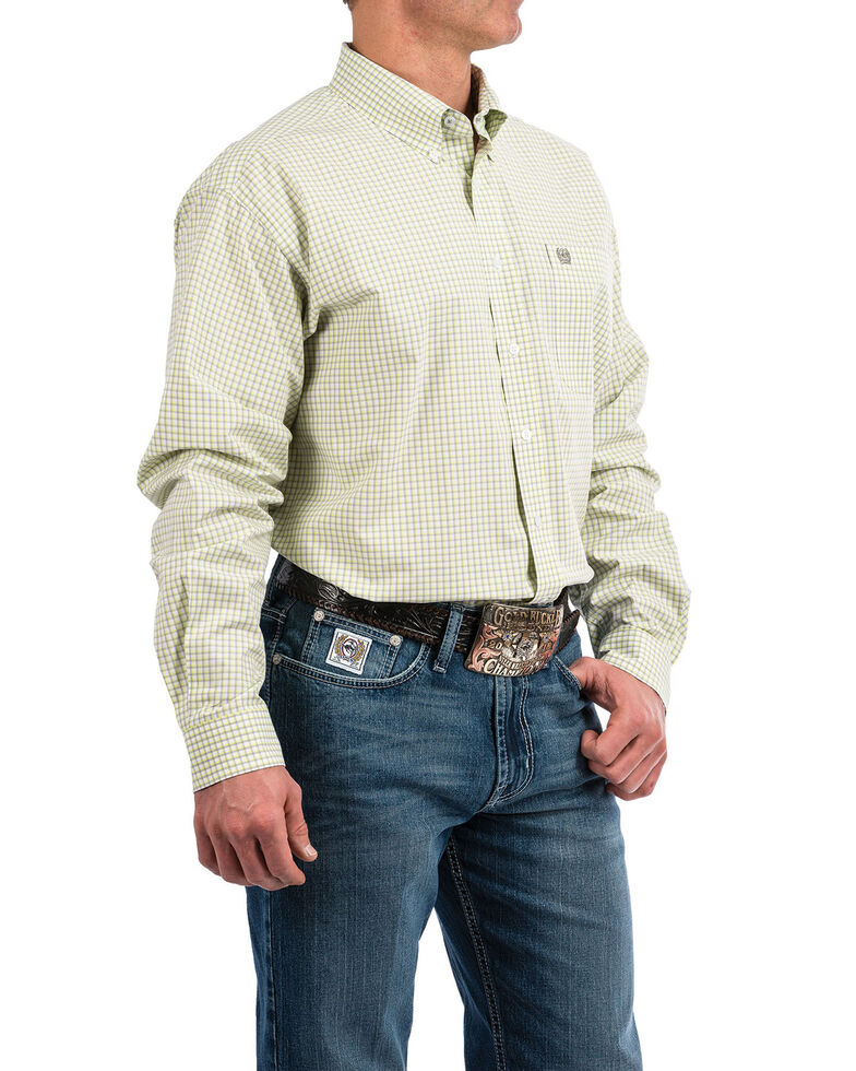 Cinch Men's White Plaid Long Sleeve Western Shirt , White, hi-res