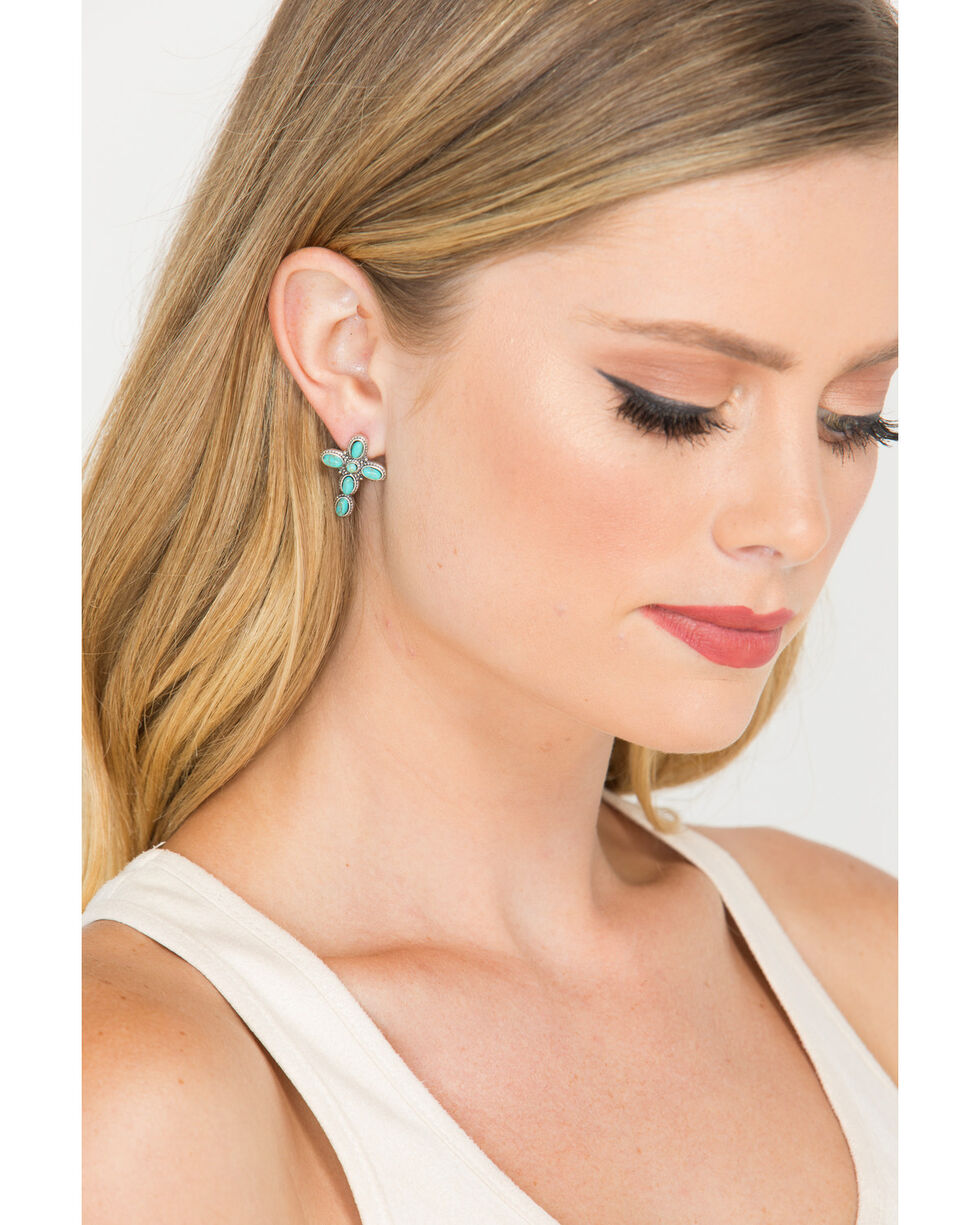 Shyanne Women's Turquoise Cross and Feather Earrings Set, Silver, hi-res