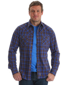 Wrangler Retro Men's Brown Plaid Long Sleeve Western Shirt , Brown, hi-res