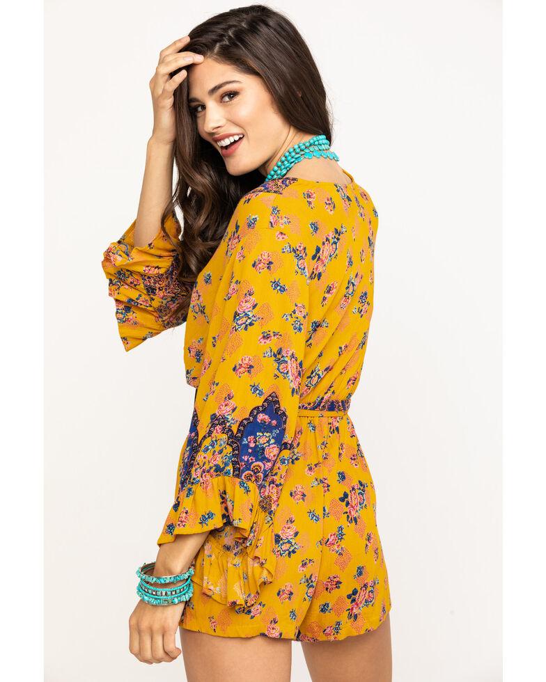 Angie Women's Mustard Floral Print Romper , Dark Yellow, hi-res