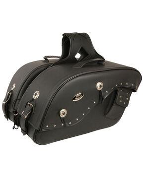 Milwaukee Leather Cruiser Riveted Saddle Bag , Black, hi-res