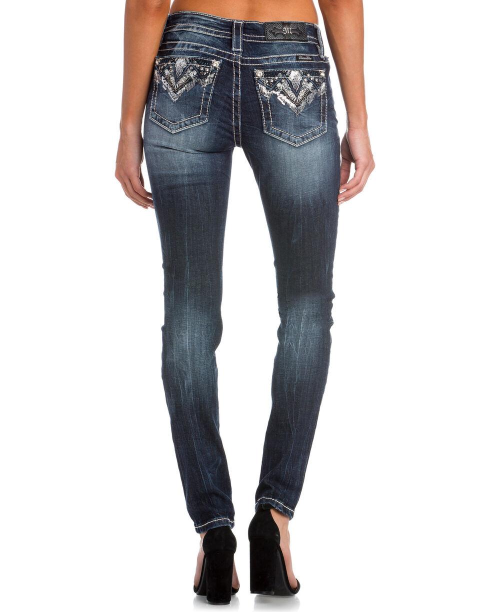 Miss Me Women's Broken Dreams Mid-Rise Skinny Jeans, Indigo, hi-res