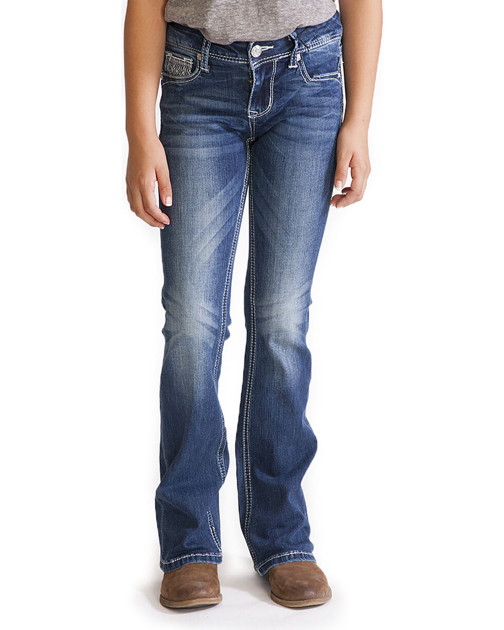 Grace in LA Girls' Blue Tess Embellished Pocket Jeans - Boot Cut , Blue, hi-res