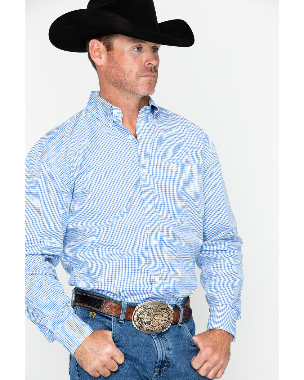 George Strait By Wrangler Mini Check Plaid Long Sleeve Western Shirt , Blue/white, hi-res