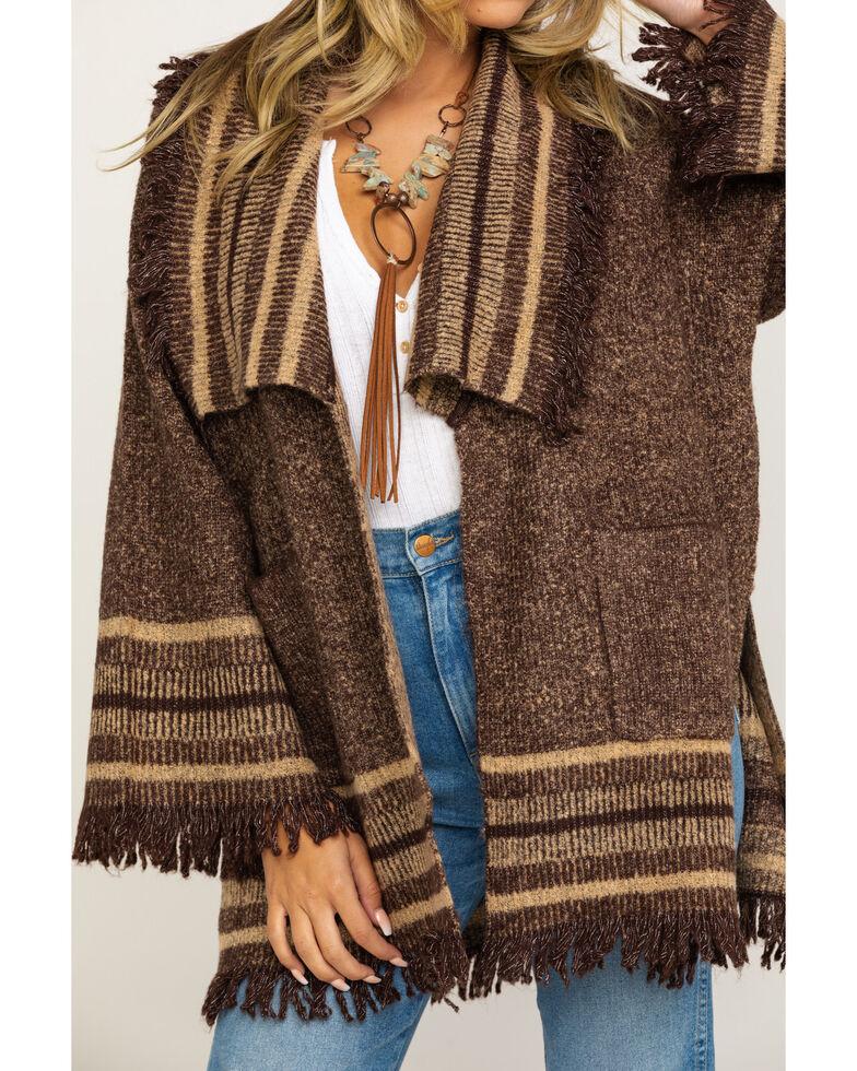 Wrangler Women's Brown Stripe Fringe Cardigan, Brown, hi-res