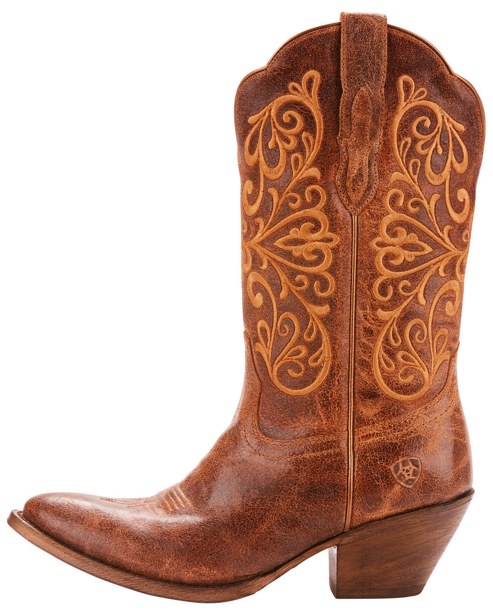 Ariat Women's Terra Bella Full-Grain Leather Western Boots - Medium Toe, Tan, hi-res