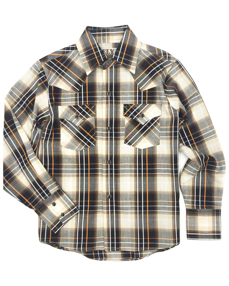 Ely Cattleman Boys' Assorted Textured Multi Plaid Long Sleeve Western Shirt , Multi, hi-res