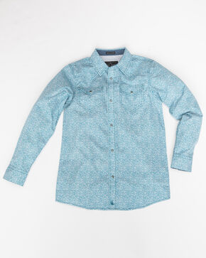 Cody James Boys' Windy Meadow Print Long Sleeve Western Shirt , Blue, hi-res