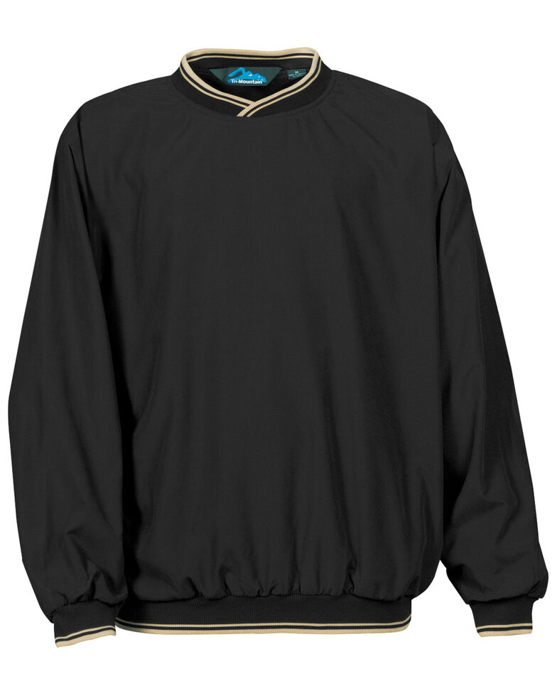 Tri-Mountain Men's Black & Khaki 4X Atlantic Trimmed Microfiber Wind Work Sweatshirt - Big, Black, hi-res