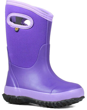 Bogs Girls' Classic Matte Waterproof Boots - Round Toe, Violet, hi-res