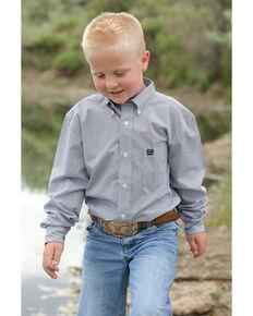 Cinch Boys' Navy Geo Print Button Long Sleeve Western Shirt , Navy, hi-res