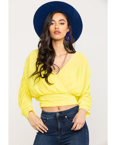 Flying Tomato Women's Yellow Surplice Top, Yellow, hi-res