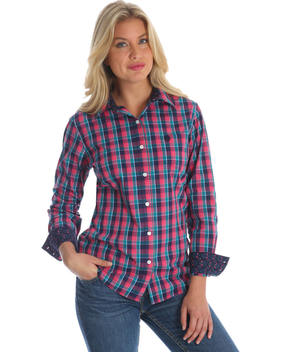 George Strait by Wrangler Women's Pink Plaid Long Sleeve Western Shirt , Multi, hi-res