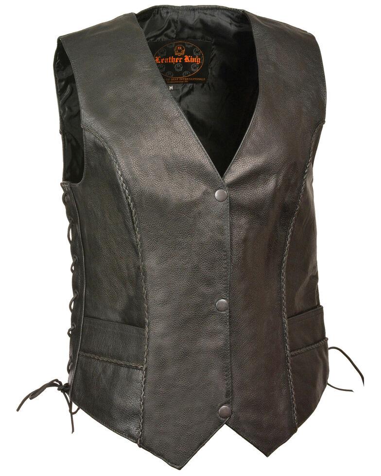 Milwaukee Leather Women's Thin Braid Snap Front Vest - 3X, Black, hi-res