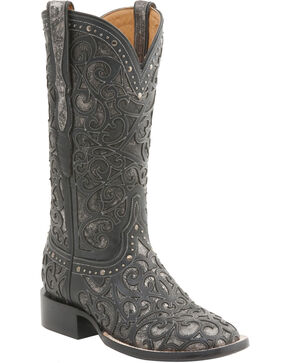 Lucchese Women's Handcrafted Sierra Lasercut Western Boots - Square Toe , Black, hi-res