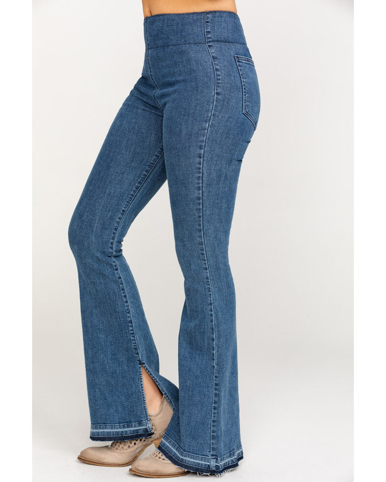 Show Me Your Mumu Women's Austin Pull-On Flare Jeans, Blue, hi-res