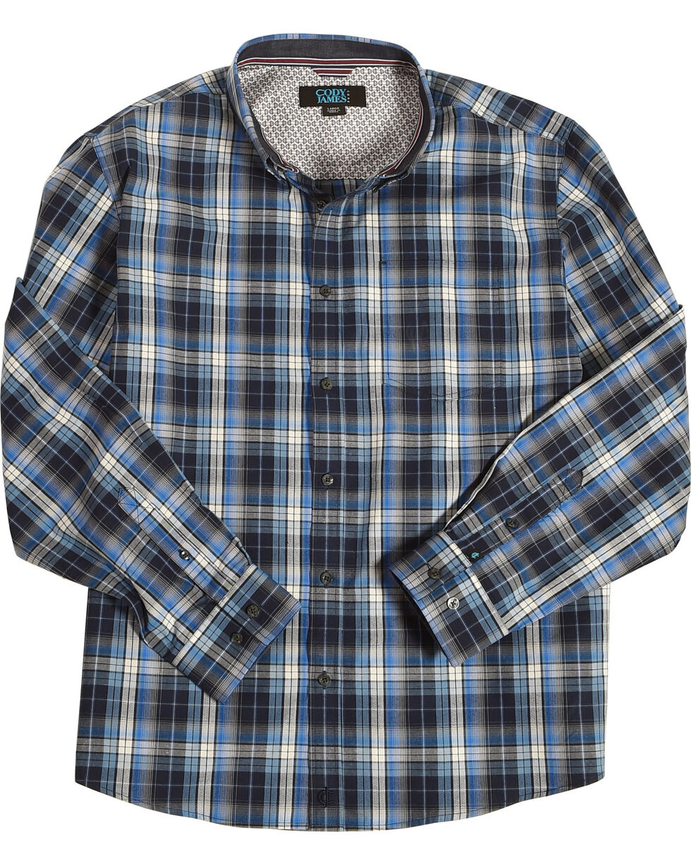 Cody James Men's Martingale Plaid Long Sleeve Button Down Shirt - Big & Tall, Blue, hi-res