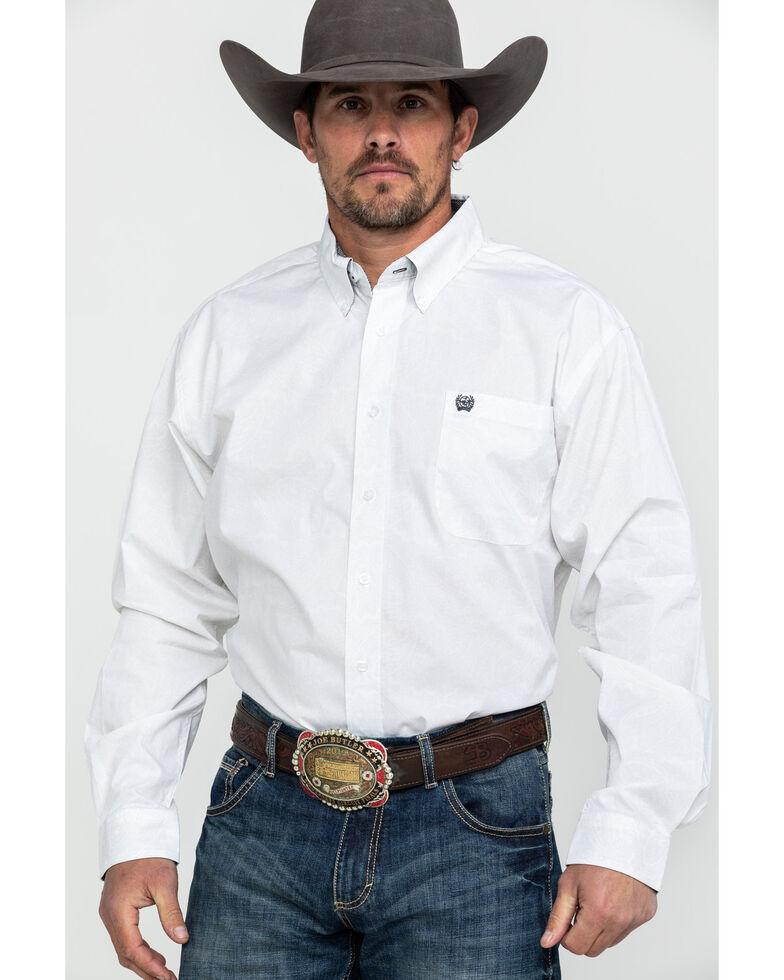 Cinch Men's White Paisley Print Long Sleeve Western Shirt , White, hi-res