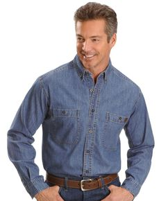 Wrangler Riggs Men's Denim Long Sleeve Work Shirt, Antique, hi-res