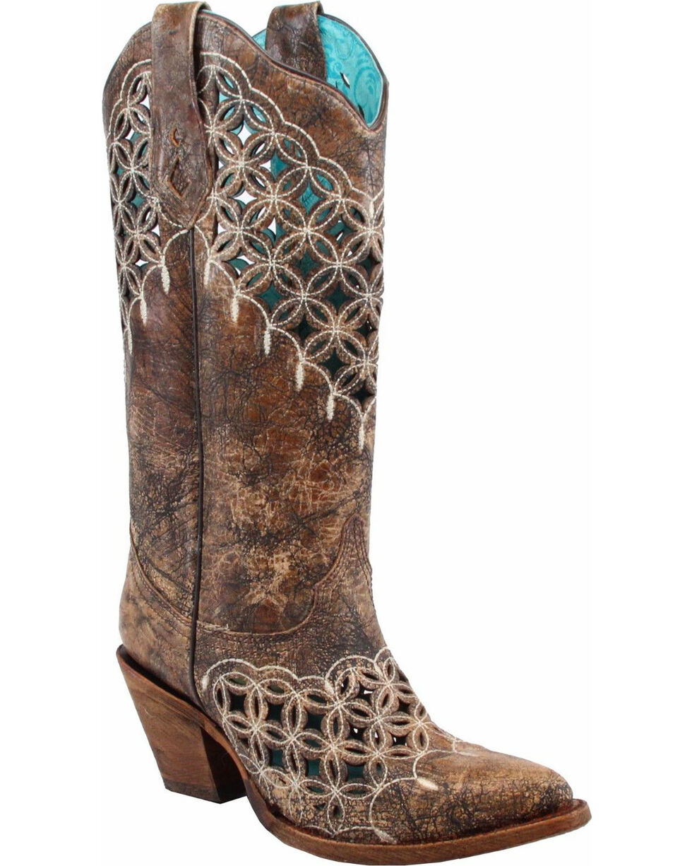 Corral Women's Cutout and Embroidery Cowgirl Boot - Pointed Toe, Sand, hi-res