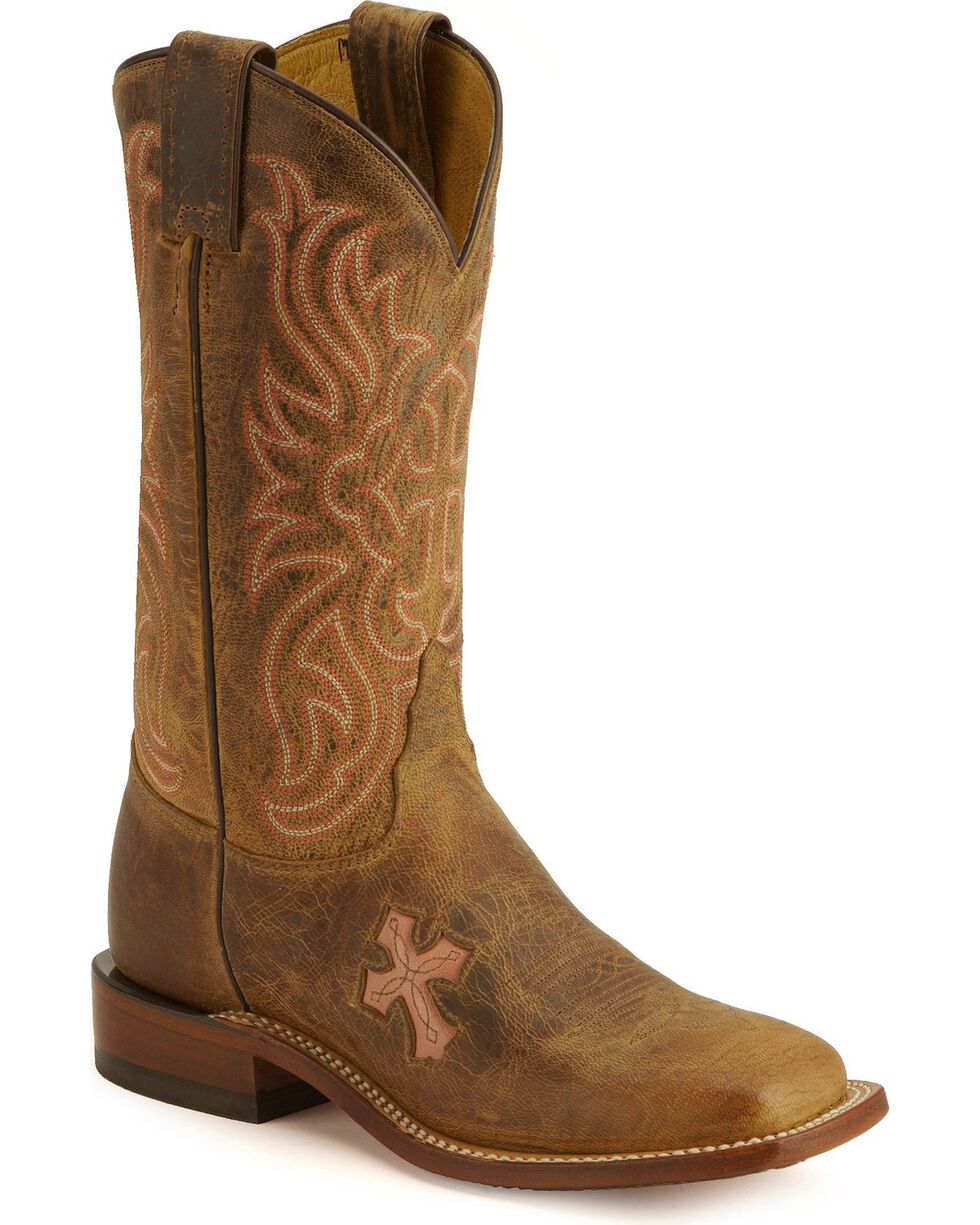 Tony Lama Women's Cross Inlay Western Boots, Tan, hi-res