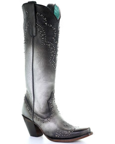 Corral Women's Silver Woven Studded Leather Western Boots - Snip Toe , Silver, hi-res