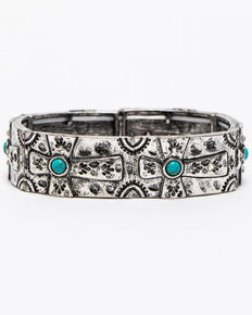 Shyanne Women's Summer Escape Simple Turquoise Beaded Cross Stretch Bracelet, Silver, hi-res