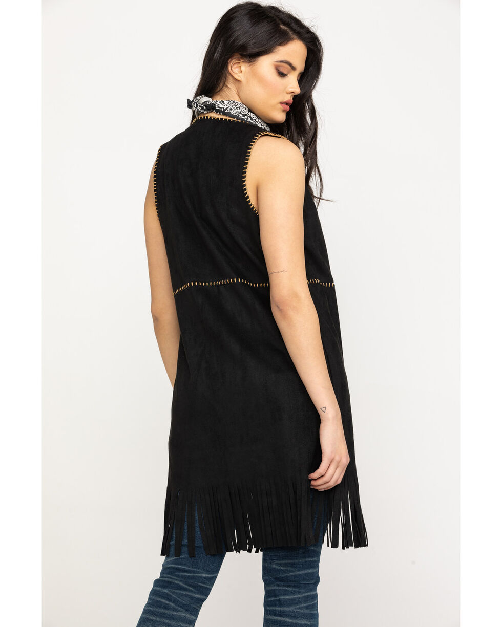 Vocal Women's Faux Suede Whipstitch Fringe Vest, Black, hi-res