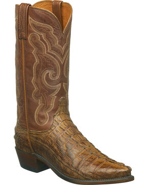 Lucchese Men's Franklin Hornback Caiman Tail Western Boots - Snip Toe, Tan, hi-res