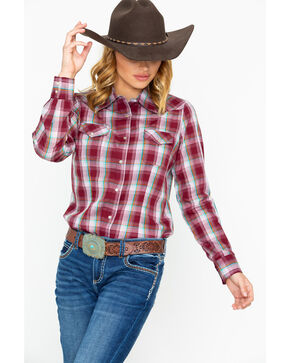As Real As Wrangler Women's Wine Lurex Long Sleeve Western Shirt, Wine, hi-res