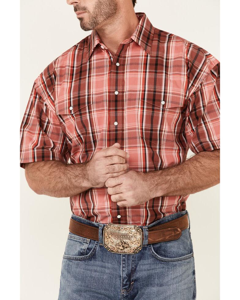 Panhandle Men's Red Large Plaid Short Sleeve Snap Western Shirt , Red, hi-res