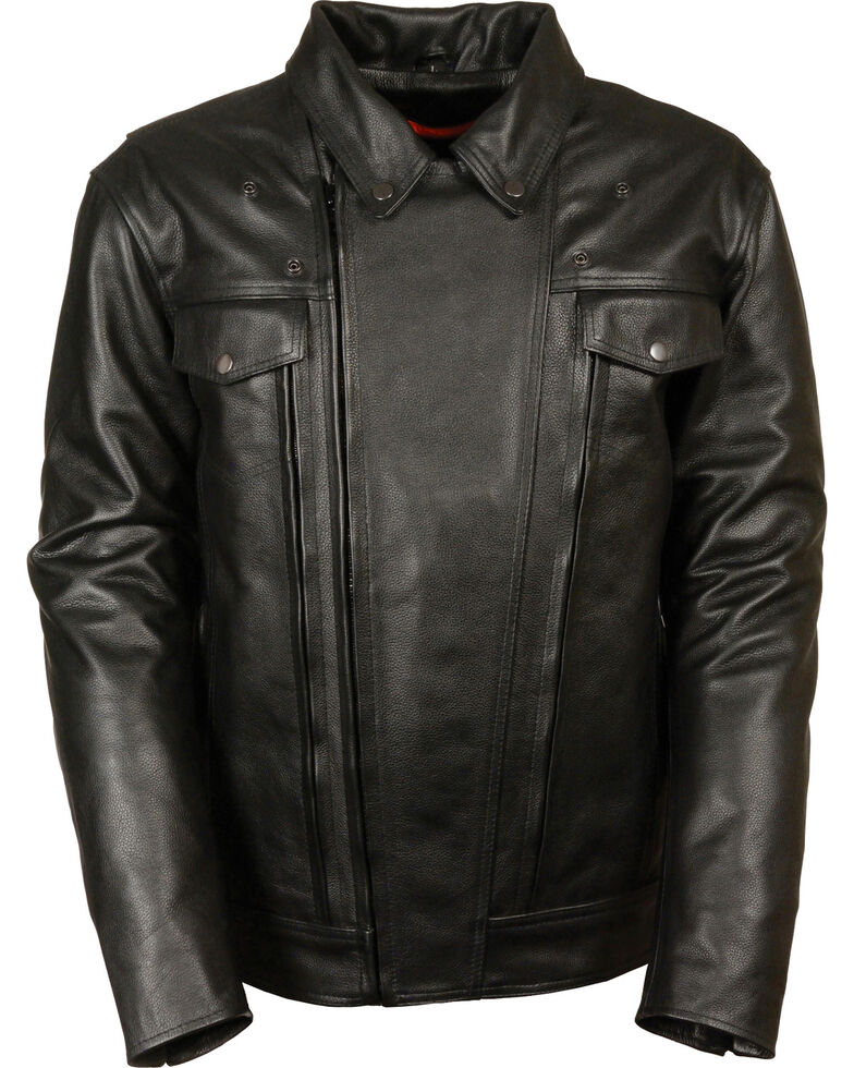 Milwaukee Leather Men's Utility Vented Cruiser Jacket - Tall 5X, Black, hi-res