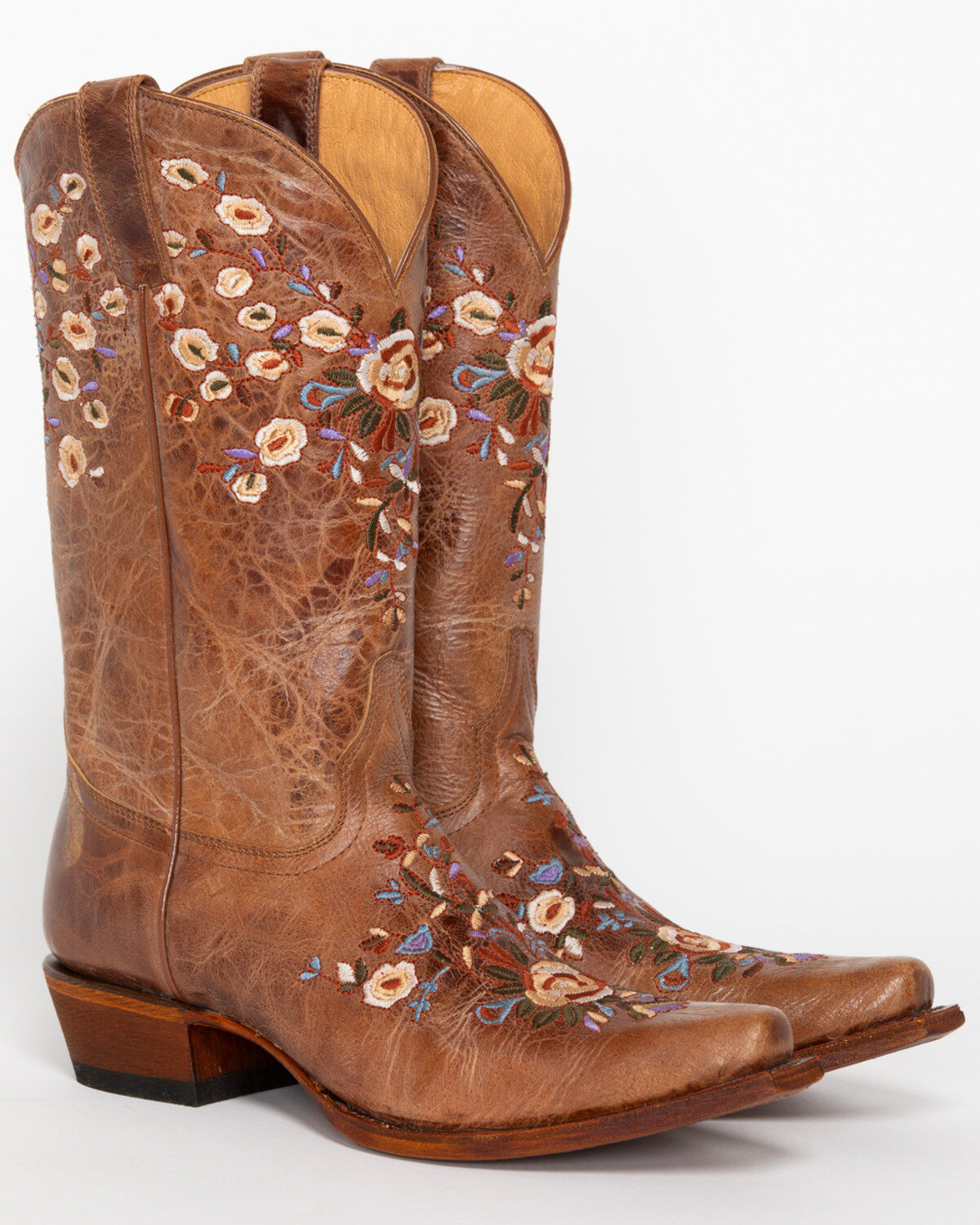 Women/'s New Floral Embroidery Cowgirl Western Boots Snip Brown Pink Honey