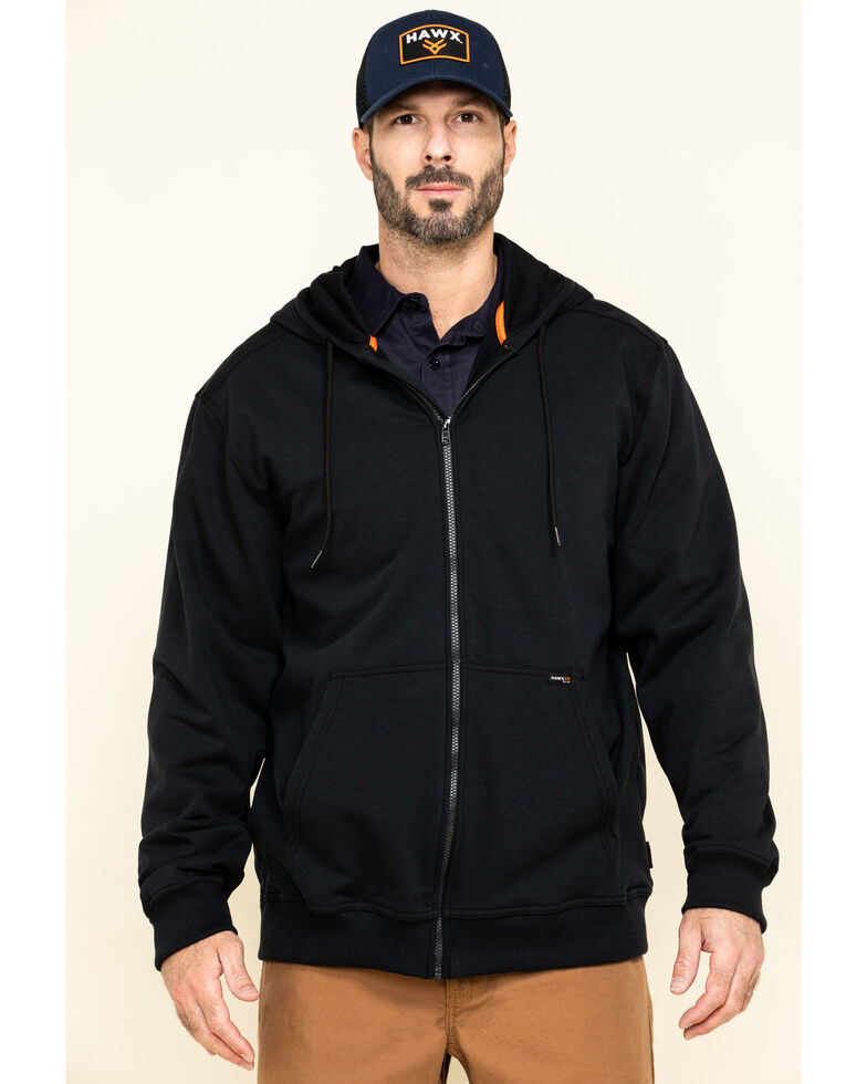 Hawx Men's FR Zip Up Fleece Work Hoodie - Tall , Black, hi-res