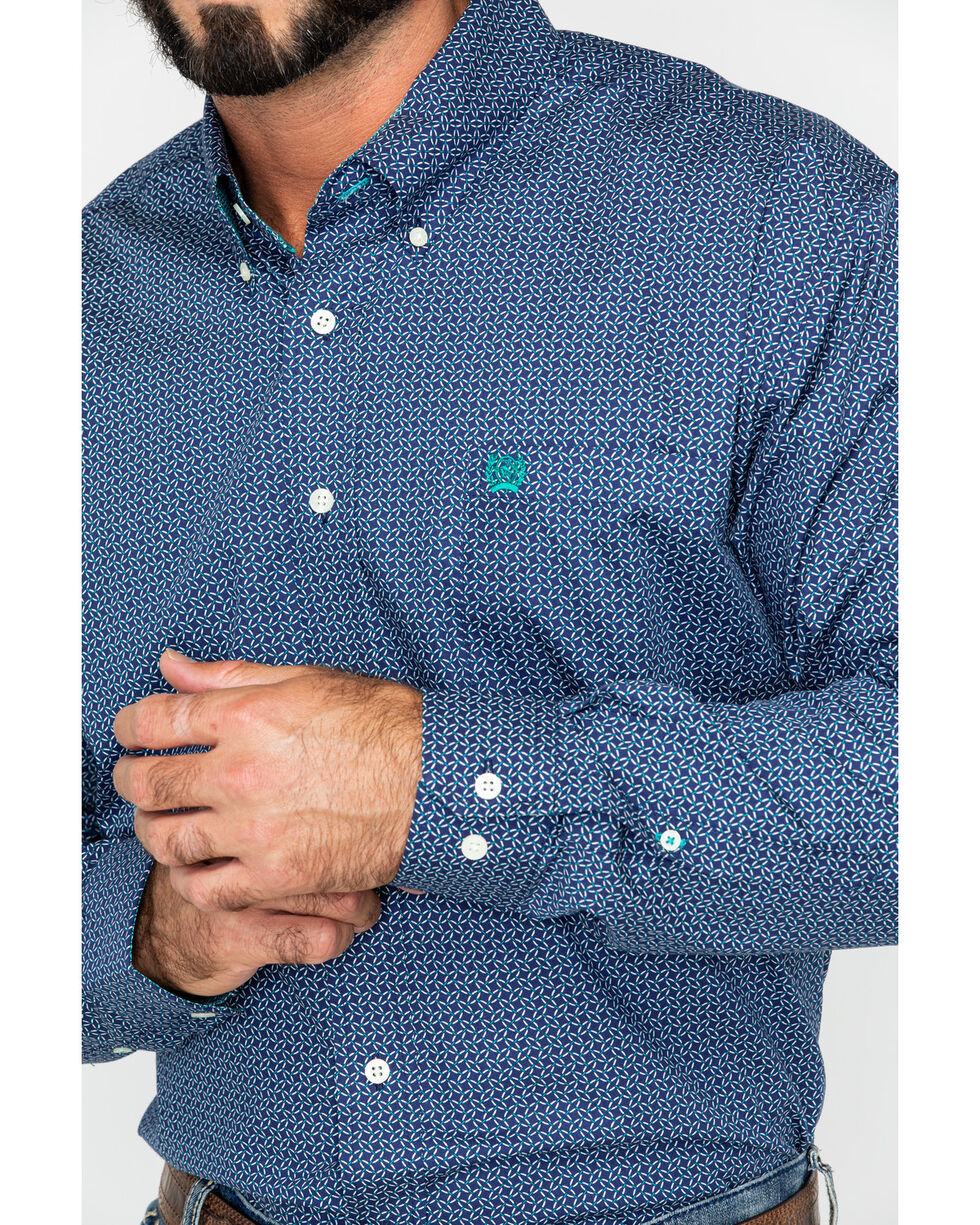 Cinch Men's Navy Geo Print Long Sleeve Western Shirt , Navy, hi-res