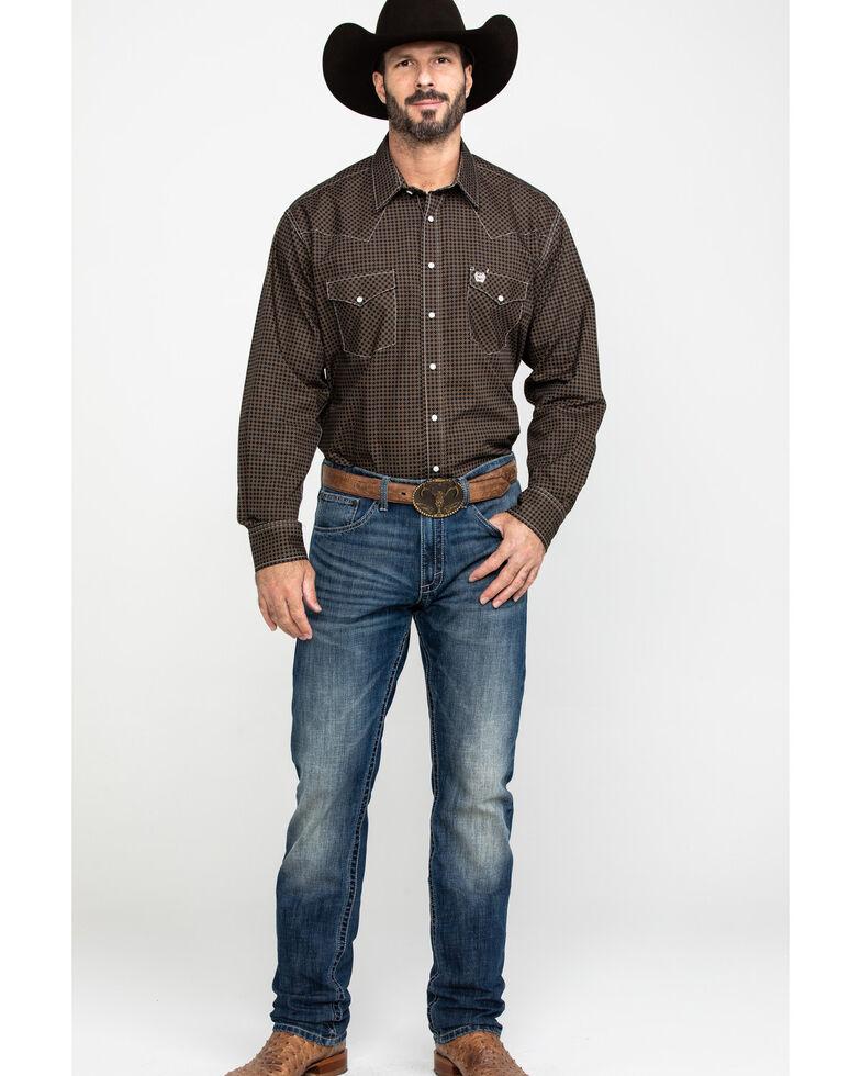 Cinch Men's Khaki Geo Print Snap Long Sleeve Western Shirt , , hi-res