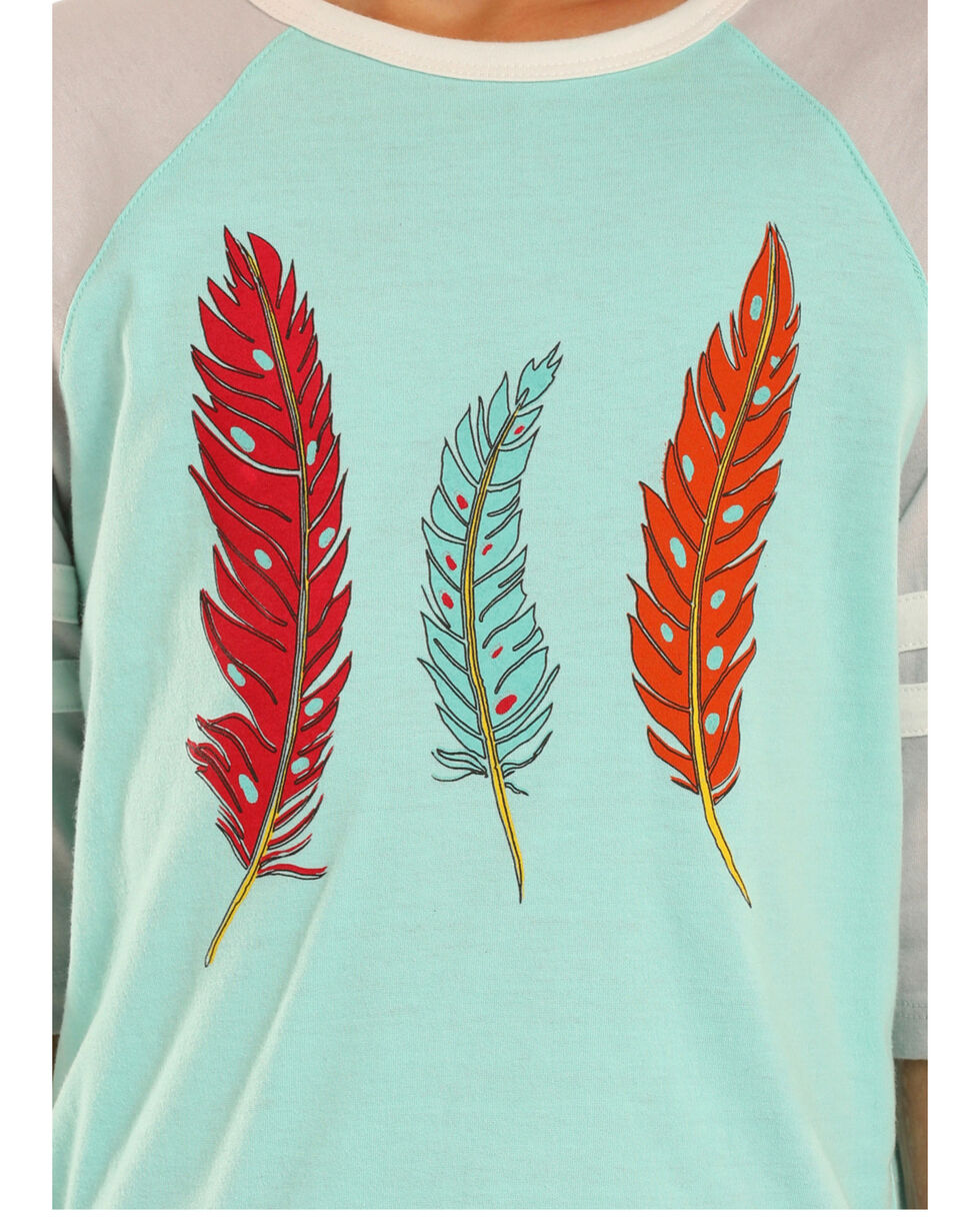 Rock & Roll Cowgirl Girls' Turquoise Feather Baseball Tee , Turquoise, hi-res