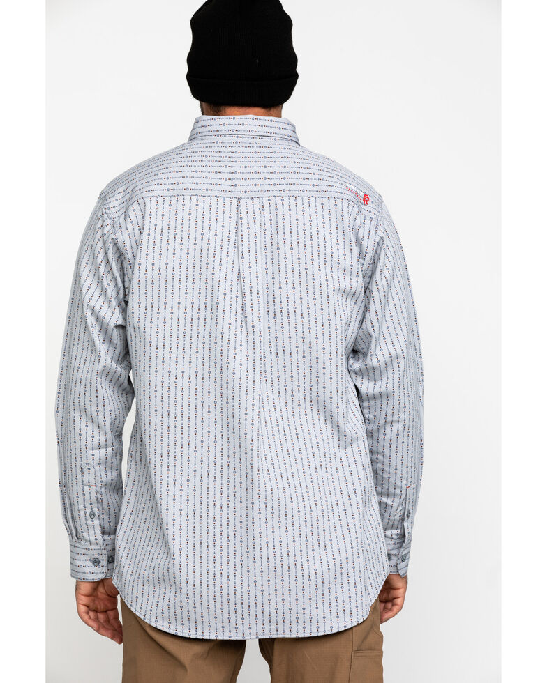 Ariat Men's FR Quartz Geo Print Long Sleeve Work Shirt - Tall , Blue, hi-res