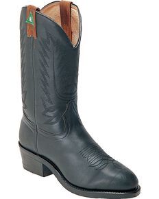 Boulet Western Pull-On Work Boots - Steel Toe, Black, hi-res