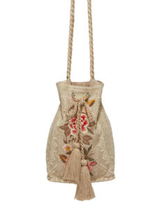 Johnny Was Women's Paola Drawstring Bucket Bag, Tan, hi-res
