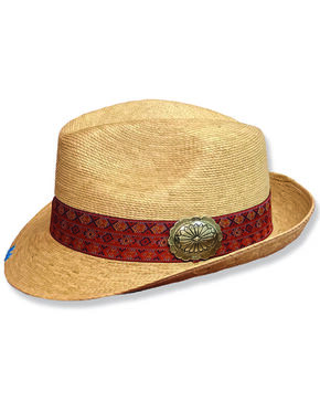 Atwood Men's Kelsey Flower Concho Straw Fedora, Natural, hi-res