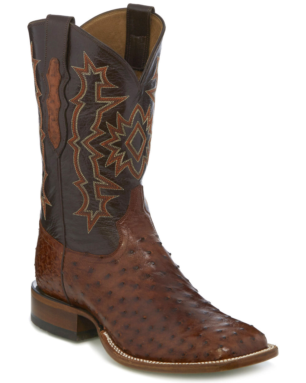 Tony Lama Men's Brandy Hermoso Full Quill Ostrich Cowboy Boots - Square Toe, Brown, hi-res