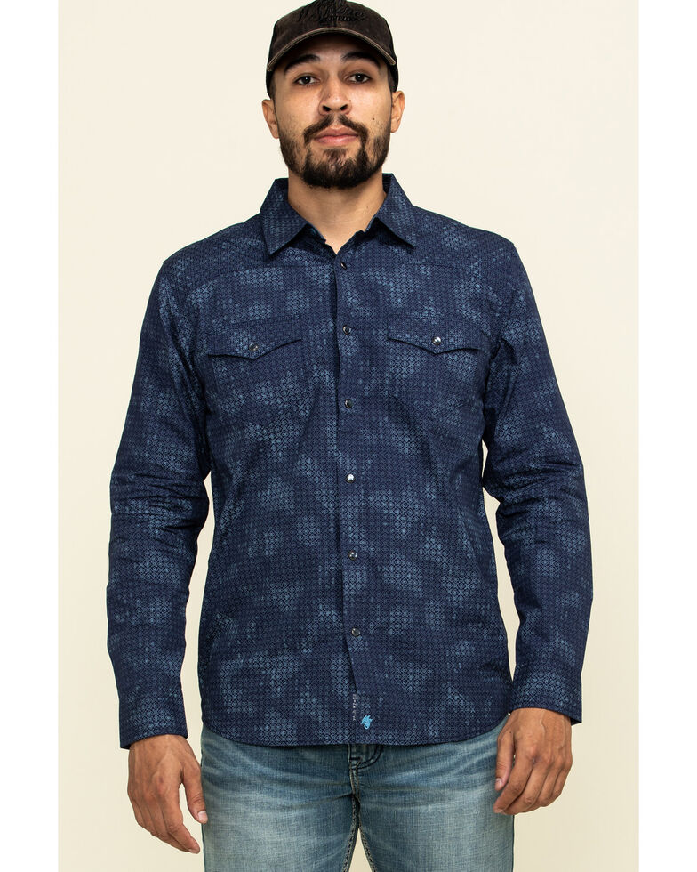 Moonshine Spirit Men's Floral Camo Print Long Sleeve Western Shirt , Navy, hi-res