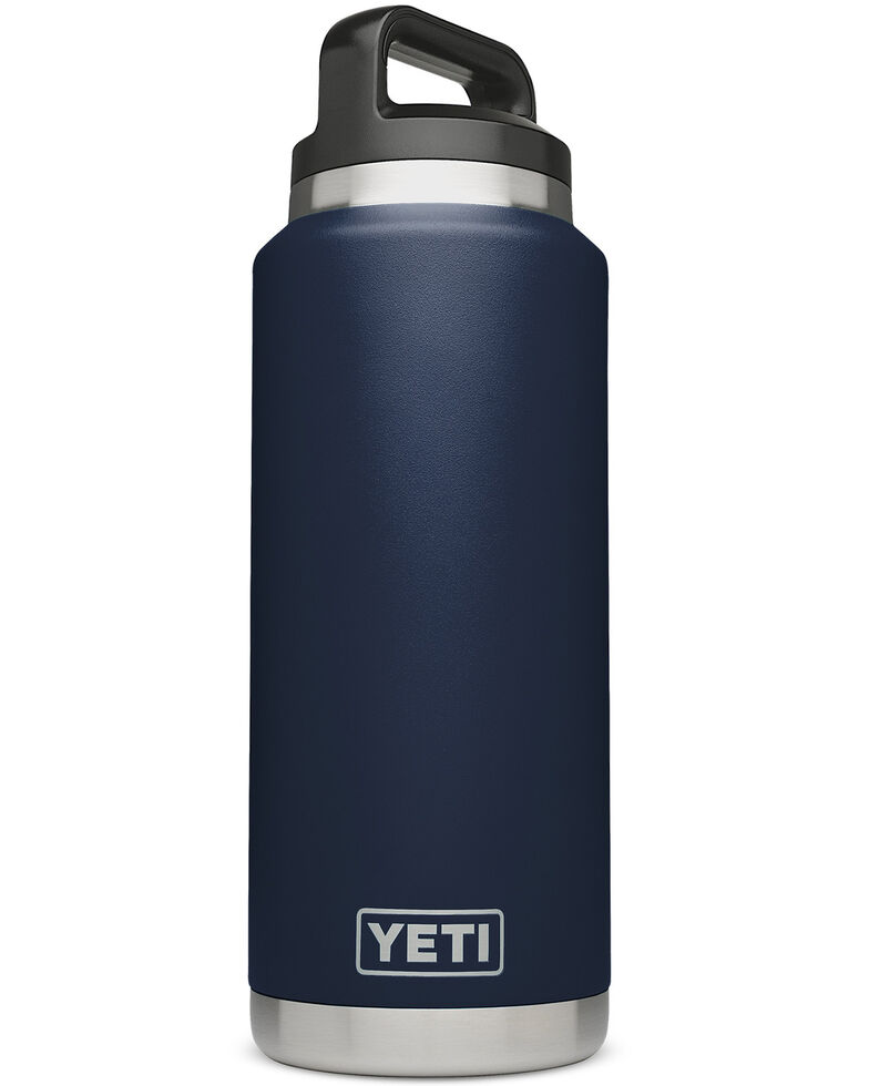 YETI 36oz Navy Rambler Bottle, Navy, hi-res